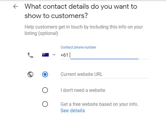 Enter contact details
