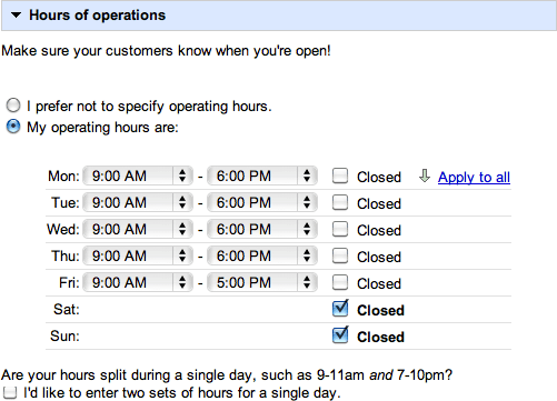 Customize - Hours of Operation