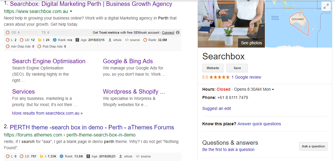 Google my business result in google